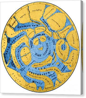 Schiaparelli Mars Map 1877-78 Canvas Print by Science Source