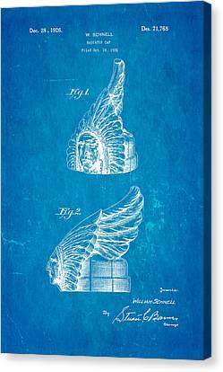 Schnell Pontiac Chief Hood Ornament Patent Art 1926 Blueprint Canvas Print by Ian Monk