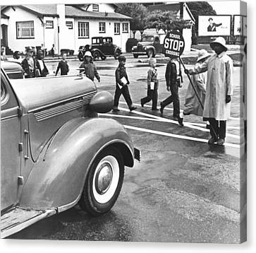 School Crossing Guard Canvas Print by Underwood Archives