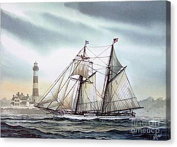 Schooner Light Canvas Print by James Williamson