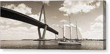 Schooner Pride And Cooper River Bridge Canvas Print by Dustin K Ryan