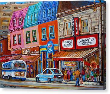 Schwartzs Deli Restaurant Montreal Smoked Meat Plateau Mont Royal Streetscene Carole Spandau Canvas Print by Carole Spandau