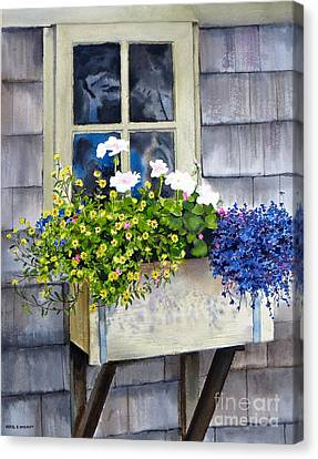 'sconset Window Box Canvas Print by Karol Wyckoff