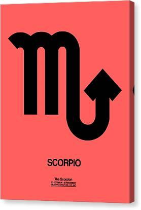 Scorpio Zodiac Sign Black Canvas Print by Naxart Studio