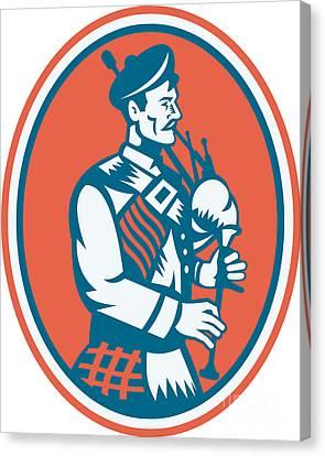 Scotsman Scottish Bagpipes Retro Canvas Print by Aloysius Patrimonio