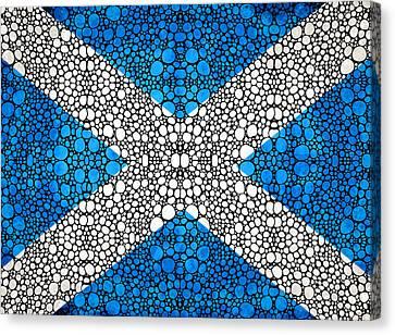 Scottish Flag - Stone Rock'd Scotland Art By Sharon Cummings Canvas Print by Sharon Cummings
