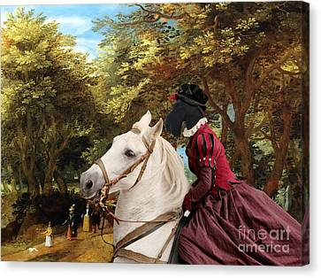 Scottish Terrier Art - Pasague With Horse Lady Canvas Print by Sandra Sij