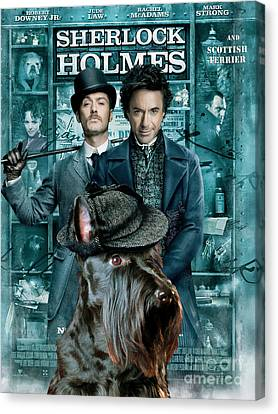 Scottish Terrier Art Canvas Print - Sherlock Holmes Movie Poster Canvas Print by Sandra Sij