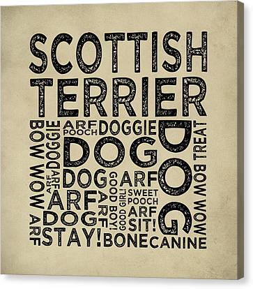 Scottish Terrier Typography Canvas Print by Flo Karp