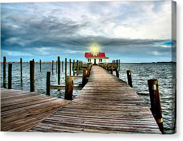 Screw-pile Lighthouse Canvas Print by Nadine Lewis