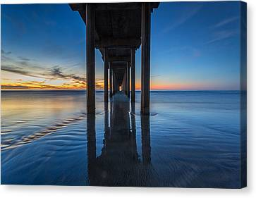 Scripps Pier Blue Hour Canvas Print by Peter Tellone