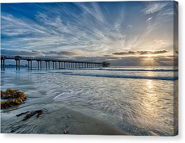 Scripps Pier Sky And Motion Canvas Print by Peter Tellone
