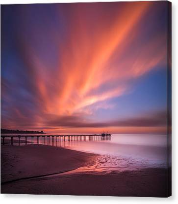 Scripps Pier Sunset - Square Canvas Print by Larry Marshall