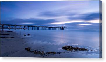 Scripps Pier Twilight - Color Canvas Print by Peter Tellone