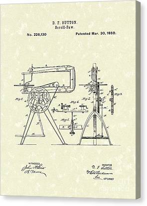 Scroll-saw 1880 Patent Art Canvas Print by Prior Art Design