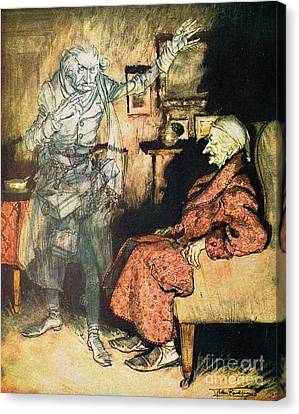 Scrooge And The Ghost Of Marley Canvas Print by Arthur Rackham