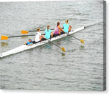 Sculling Team On Palm River  Canvas Print by Buzz  Coe