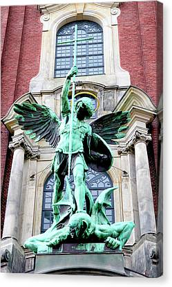 Sculpture Of The Archangel Michael Canvas Print by Miva Stock