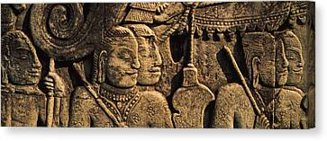 Sculptures In A Temple, Bayon Temple Canvas Print by Panoramic Images