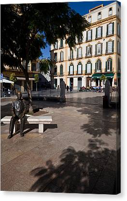 Scupture Of Picasso On The Plaza De La Canvas Print by Panoramic Images