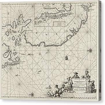 Sea Chart Of Part Of The Coast Of Norway Canvas Print by Jan Luyken And Johannes Van Keulen I