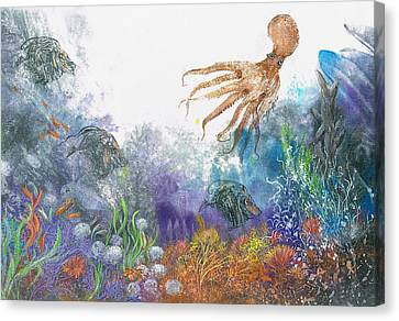 Sea Coral And Octopus Canvas Print by Nancy Gorr