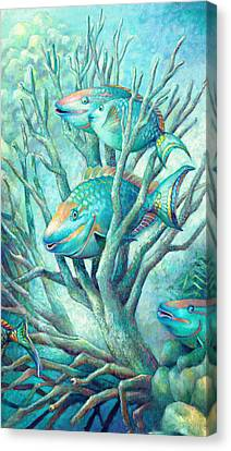 Sea Folk II - Parrot Fish Canvas Print by Nancy Tilles