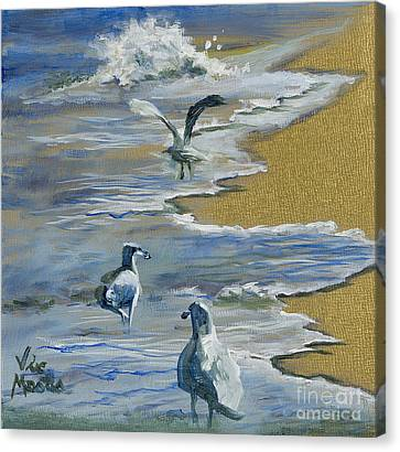 Sea Gulls With Gold Leaf By Vic Mastis Canvas Print by Vic  Mastis