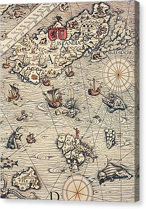 Sea Map By Olaus Magnus Canvas Print by Olaus Magnus