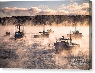 Sea Smoke And Lobster Boats Canvas Print by Benjamin Williamson