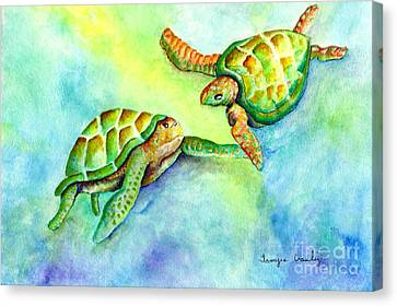 Sea Turtle Courtship Canvas Print by Tamyra Crossley