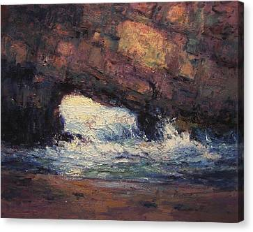 Seacave At Sunrise Canvas Print by R W Goetting