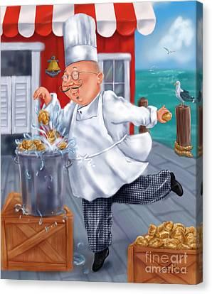 Seafood Chefs-fresh Clams Canvas Print by Shari Warren