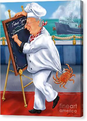 Seafood Chefs-todays Special Canvas Print by Shari Warren