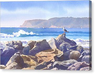 Seagull And Point Loma Canvas Print by Mary Helmreich