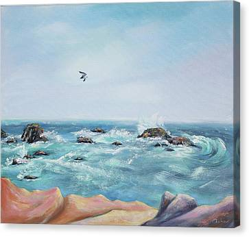 Seagull Over The Ocean Canvas Print by Asha Carolyn Young