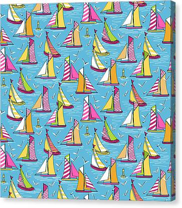 Seagulls And Sails Springtime Canvas Print by Sharon Turner