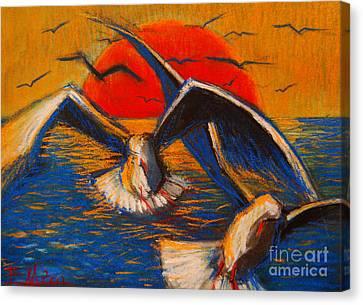 Seagulls At Sunset Canvas Print by Mona Edulesco