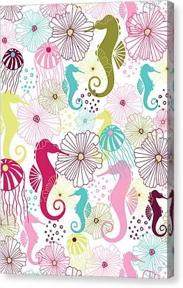 Seahorse Flora Canvas Print by Susan Claire