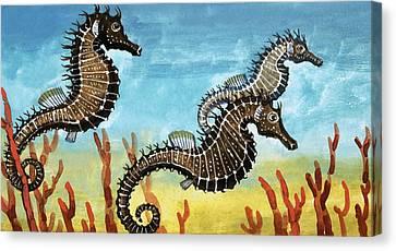 Seahorses Canvas Print by English School