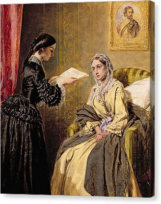 Searching The London Gazette For The List Of The Killed And Wounded Canvas Print by Thomas Harrington Wilson