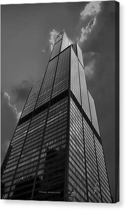 Sears Willis Tower Black And White 01 Canvas Print by Thomas Woolworth