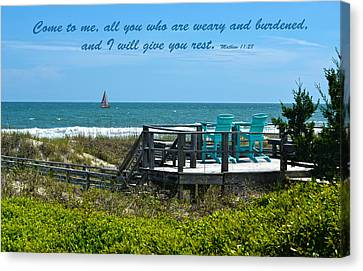 Seascape And Scripture Canvas Print by Sandi OReilly