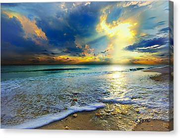 Seascape Sunset-gold Blue Sunset Canvas Print by Eszra Tanner