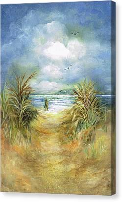 Seascape With Fisherman Canvas Print by Nancy Gorr