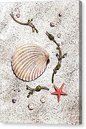 Seashell Sea Star And Pearls On The Beach Canvas Print by Irina Sztukowski