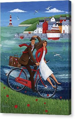 Seaside Bike Ride Canvas Print by Peter Adderley