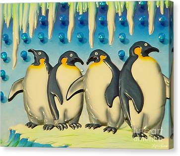 Seaside Funtown Penguins Canvas Print by Lyric Lucas