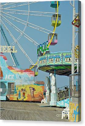 Seaside Funtown Ferris Wheel Canvas Print by Lyric Lucas