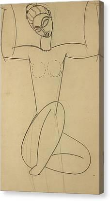 Seated Caryatid Canvas Print by Amedeo Modigliani